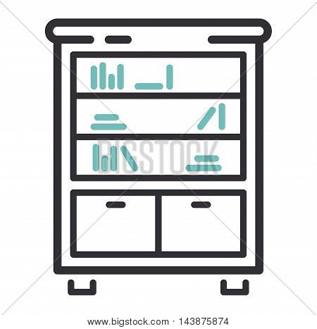 Furniture and home decor icon vector illustration. Indoor cabinet interior room sign, office bookshelf furniture icon. Modern closet silhouette furniture icon outline decoration.