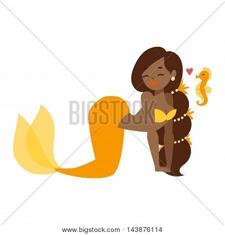 Mermaid character design coral aquatic life concept vector illustration. Human mythical woman undersea drawing mermaid nixie character. Cartoon nymph girl sea mermaid nixie character.