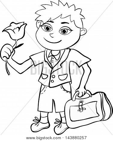 Coloring With The Pupil Of The First Class The Boy. Vector Illustration