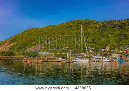 Illustrative image of hill side houses overlooking Kodiak marina.