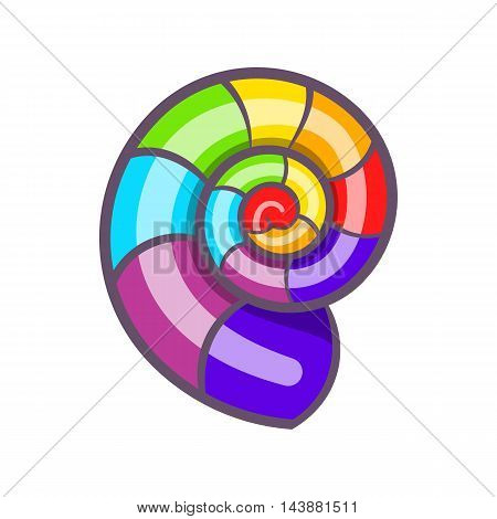 Curl in colours of LGBT icon in cartoon style isolated on white background. Tolerance symbol