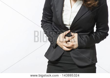 Businesswoman with stomach issues isolated on white background