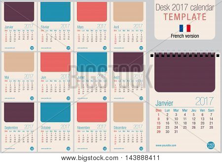 Useful desk calendar 2017 template in pastel colors, ready for printing on laser or offset. Size: 150mm x 210mm. Format A5 vertical. French version