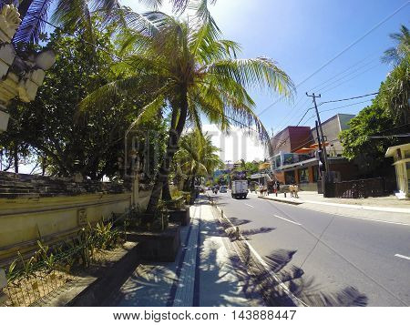 Street with palm trees in Kuta Bali Indonesia
