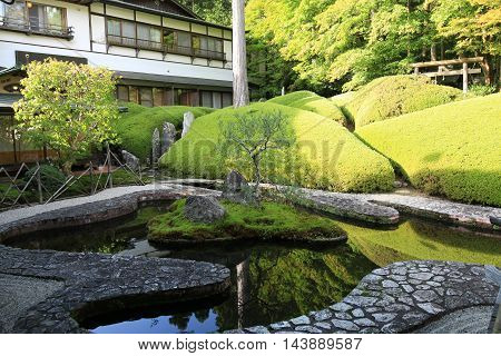 The tranquillity of a Japanese monastery garden.