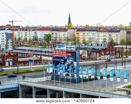 View Of Berlin With Ads Billboards (hdr)