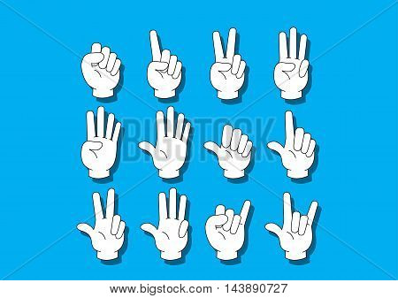 White Hand notation about numer on the blue background.