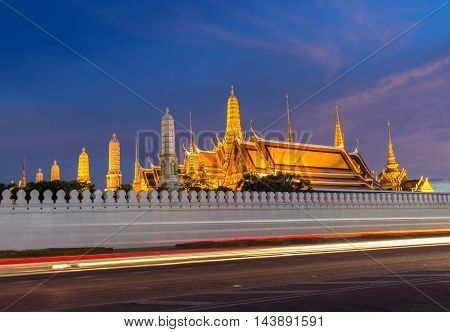 Wat Phra Kaew Temple of the Emerald Buddha at Twilight Time Bangkok Thailand.