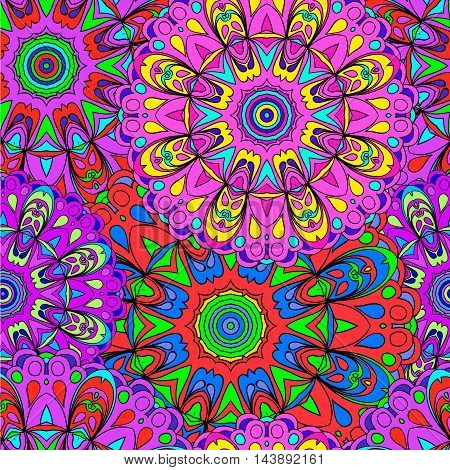 Colorful seamless pattern mandala can be used for wallpaper pattern fills web page background surface textures. Arabic India Islam Asia. Happy desig pattern.