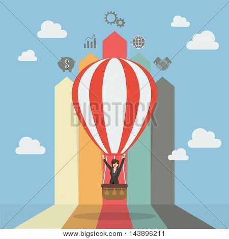 Business woman on hot air balloon with arrow bar chart. Business concept