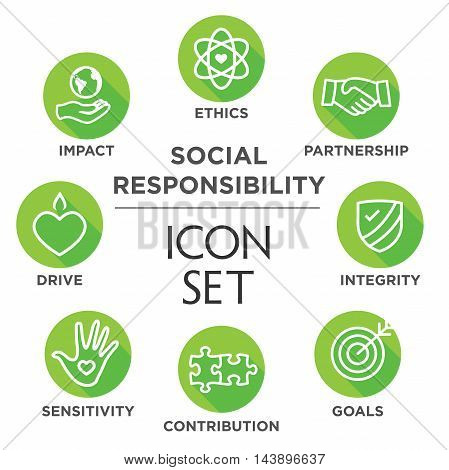 Social Responsibility Outline Icon Set