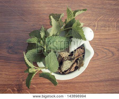 Fresh Green And Dried Lemon Balm In Mortar, Herbalism, Alternative Medicine