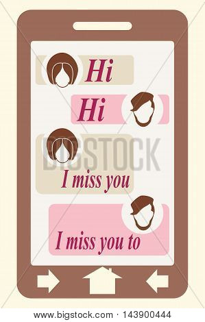 Abstract messenger screen. Between lovers conversation. Vintage human heads icons.