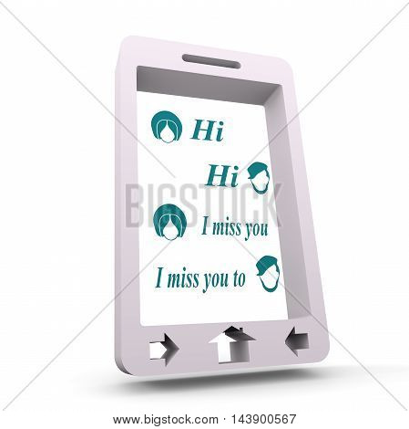 Abstract messenger screen. Between man and woman conversation. Vintage human heads icons. 3d rendering