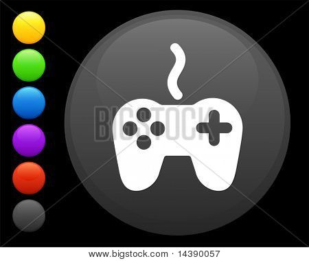 remote controller icon on round internet button original vector illustration 6 color versions included