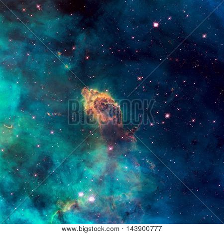 Universe Filled With Stellar Jet, Stars, Nebula And Galaxy.