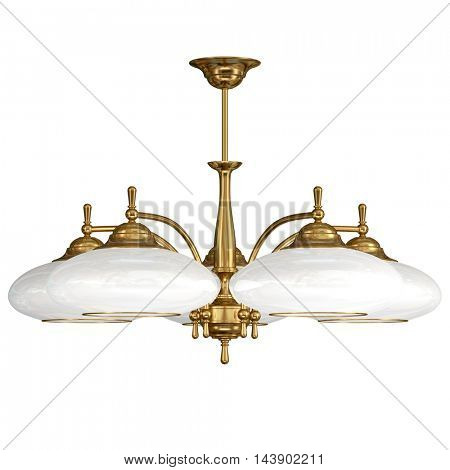 Vintage chandelier isolated on white background with clipping path. 3d illustration