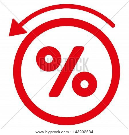 Rebate Percent icon. Vector style is flat iconic symbol with rounded angles, red color, white background.