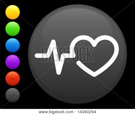 heart rate icon on round internet button original vector illustration 6 color versions included