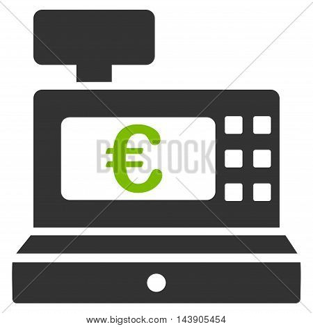 Euro Cashbox icon. Vector style is bicolor flat iconic symbol with rounded angles, eco green and gray colors, white background.