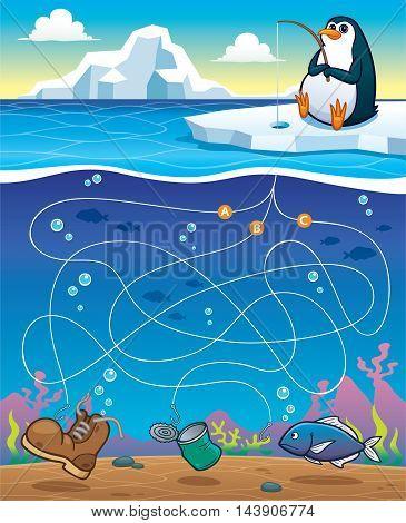 Vector Illustration of Education Maze Game Penguin Fishing