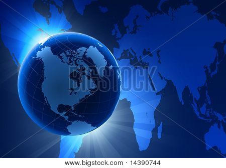 Globe on Eclipse Background with World Map Original Vector Illustration