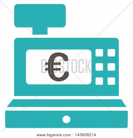 Euro Cashbox icon. Vector style is bicolor flat iconic symbol with rounded angles, grey and cyan colors, white background.