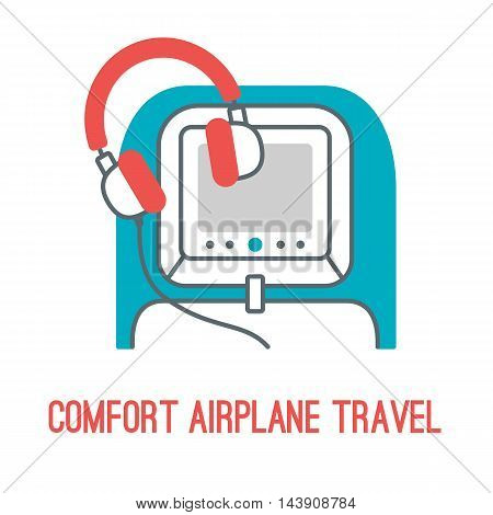 Vector illustration of comfort airplane travel in thin lined style with isolated airplane accessories for comfort travelling - concept of comfort airplane trip.