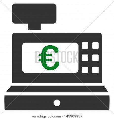 Euro Cashbox icon. Vector style is bicolor flat iconic symbol with rounded angles, green and gray colors, white background.