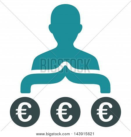 Euro Capitalist icon. Vector style is bicolor flat iconic symbol with rounded angles, soft blue colors, white background.