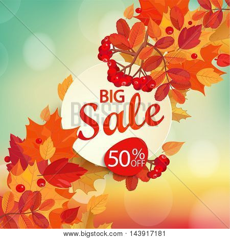 Big sale - autumn background with colorful leaves and frame with text. Fall sale design, vector illustration.