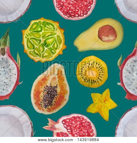 Exotic fruits:kiwi, coconut, papaya, pomegranate, dragon eye, carambola, kivano, avacado. Watercolor seamless pattern.