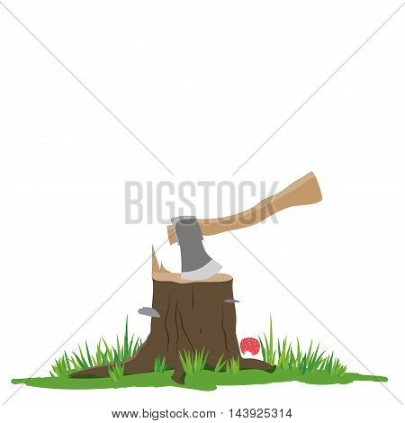 Axe in the stump vector illustration. Isolated on white background