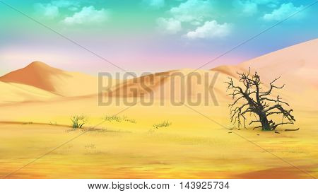 Digital Painting Illustration of a dried tree in the hot desert. Cartoon Style Character Fairy Tale Story Background.