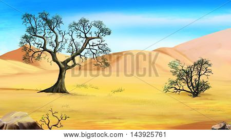 Digital Painting Illustration of a trees on the edge of the desert. Cartoon Style Character Fairy Tale Story Background.