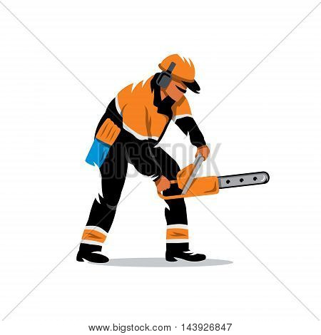 The worker in overalls with a saw. Isolated on a White Background