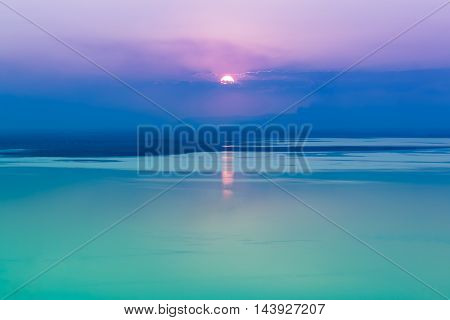 Fantastic Seascape With Cool Sunset Background With Reflection Of Sun. Outdoor.