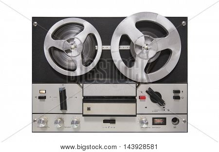 Vintage tape recorder isolated on white