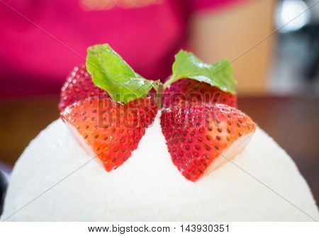 Refreshing iced strawberry cheese dessert stock photo