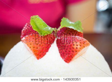 Refreshing iced strawberry cheese dessert stock photo