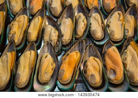 Fresh mussels at the market in Thailand