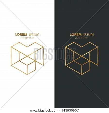 Letter M golden line design logo icon. Gold color. Vector illustration.