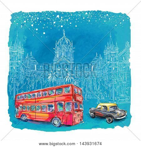 Chhatrapati Shivaji Terminus and red bus at night an historic railway station in Mumbai, Maharashtra, India. Vector illustration