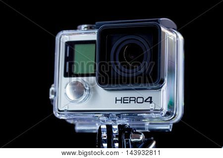 Berlin, Germany - DECEMBER, 3, 2014: Studio shot of GoPro Hero 4 Black Compact, lightweight personal camera manufactured by GoPro Inc.