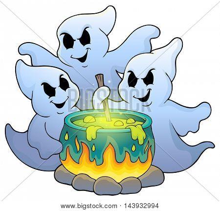 Ghosts stirring potion theme image 1 - eps10 vector illustration.