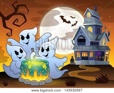 Ghosts stirring potion theme image 3 - eps10 vector illustration.