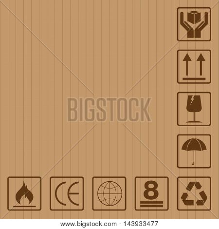 Fragile symbol set with brown texture design. Fragile symbol vector icon.