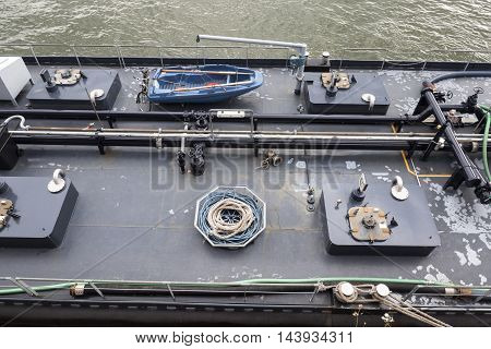 Ships deck high-angle view equipment industrial tanker