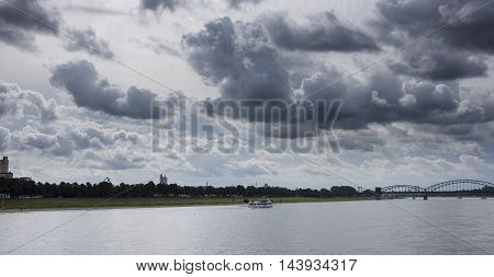 River Rhine Cologne cloudscape nature water outdoors