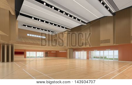3d illustration of an indoor sports gymnasium